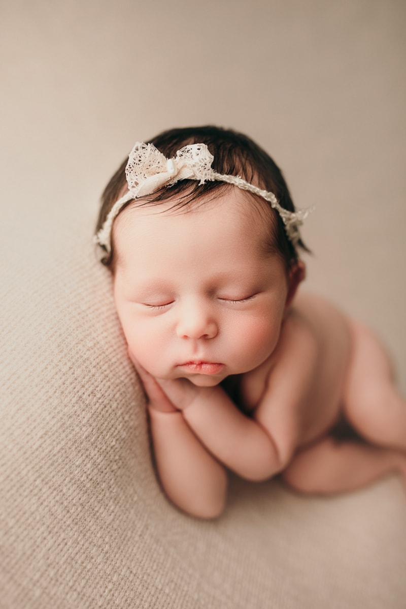 Wellsville NY Family & Newborn Photographer, baby girl asleep with headband
