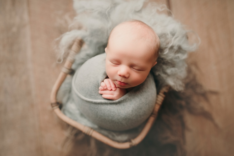Wellsville NY Family & Newborn Photographer, baby asleep in wicker basket